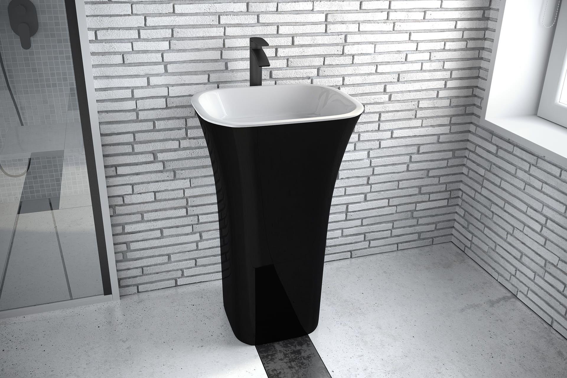 Besco umywalka wolnostojąca Assos Black 40x50x85 cm biało-czarna