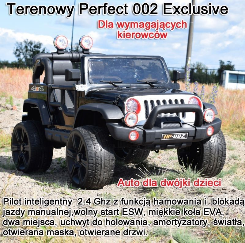 MEGA JEEP PERFECT 002 EXCLUSIVE 4x4, WOLNY START/ MIĘKKIE KOŁA, HP-002