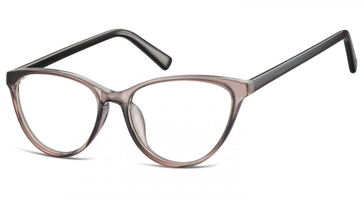 Oprawki korekcyjne okulary Kocie Oczy zerówki Sunoptic CP127D jasnoszare