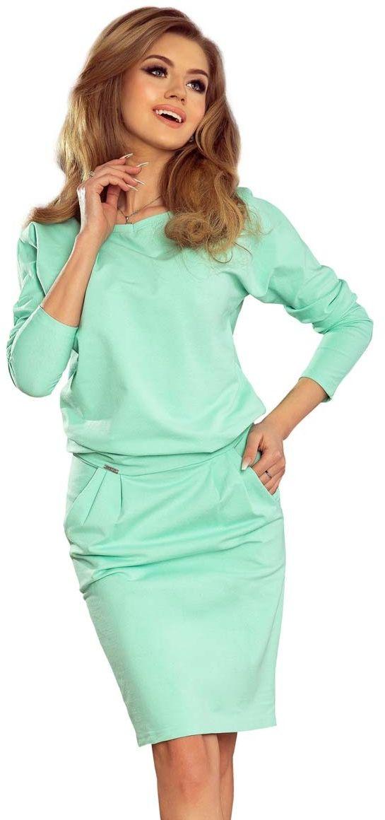 Miętowa casualowa sukienka dresowa z dekoltem na plecach