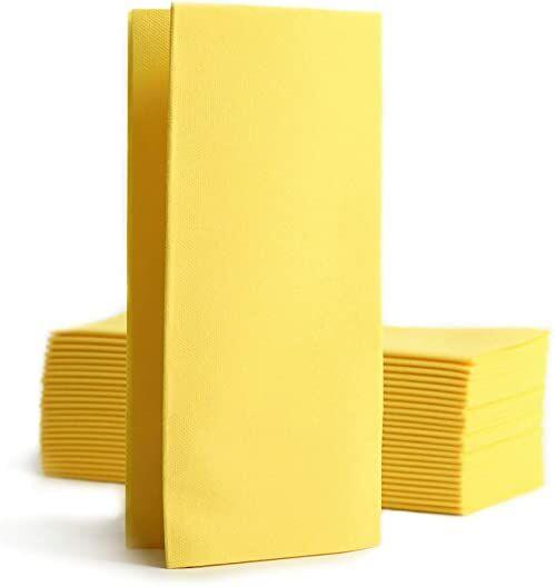 Alvotex CHIC Airlaid 50 serwetek, 1/8 fałdowanych tkanin, wysokiej jakości serwetki jednorazowe, 39 x 40 cm, żółte