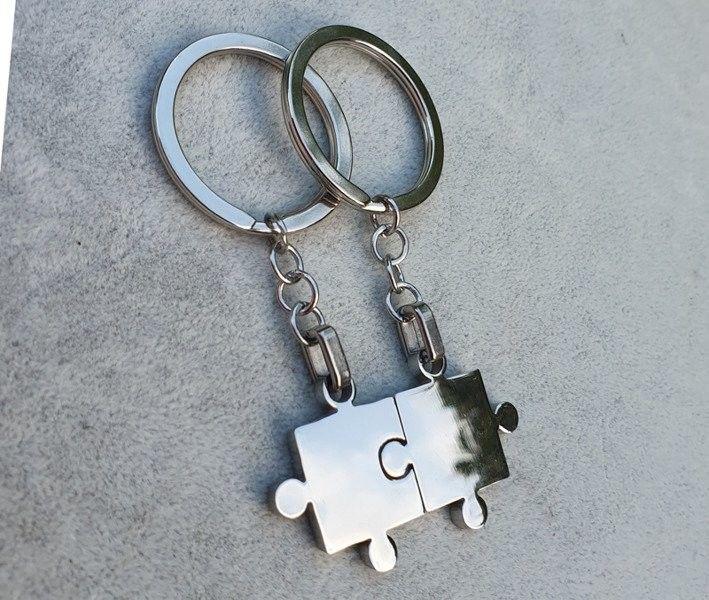 MAK-Biżuteria BK1092 brelok do kluczy dla zakochanych puzzle z grawerem
