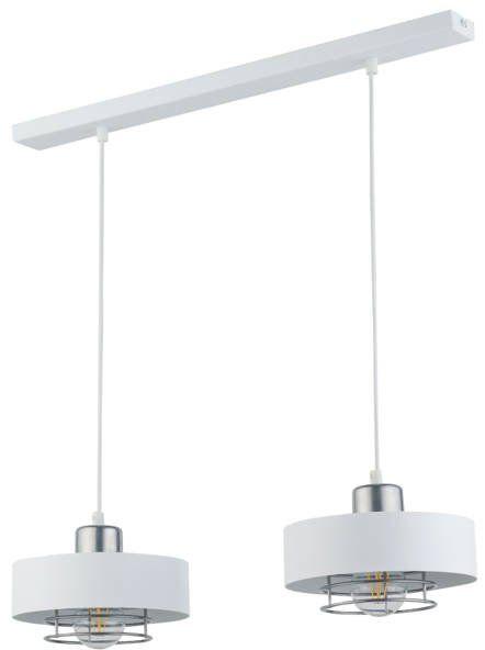Nowoczesna lampa wisząca POKER 2 biały/srebrny 32067