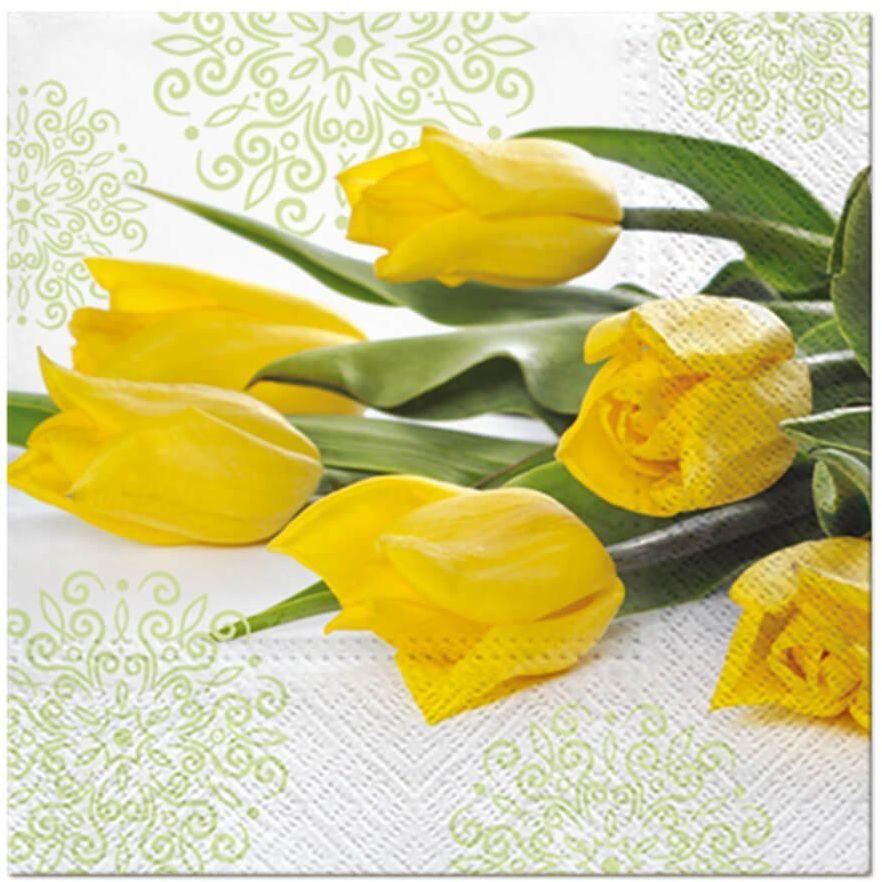 Serwetki Żółte tulipany - 33 cm - 20 szt.