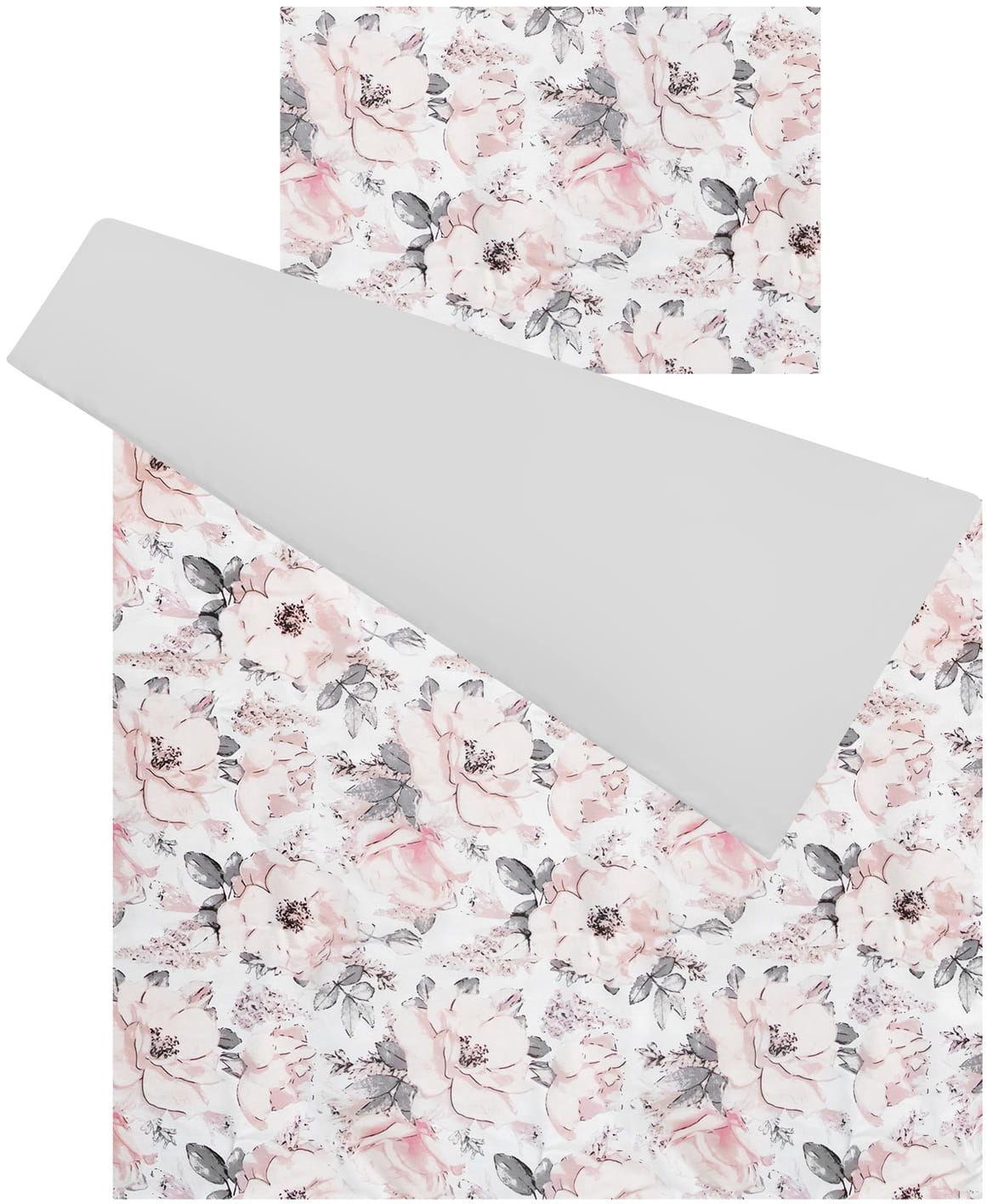 Pościel do łóżeczka 100% bawełna 2 el. flowers gray