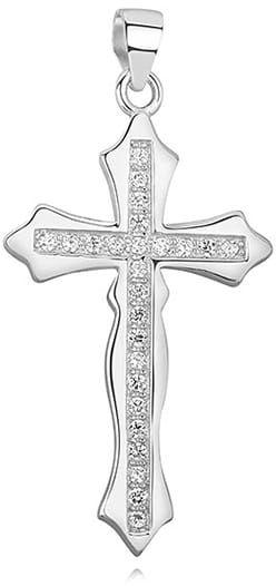 Elegancki krzyżyk srebrny z cyrkoniami, pr.925.