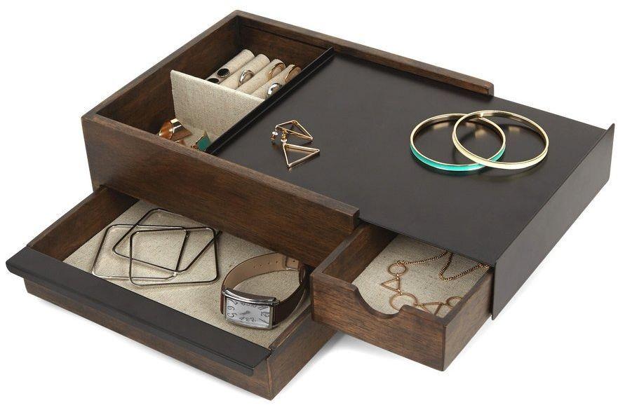 Umbra - pudełko na biżuterię stowit - orzech włoski