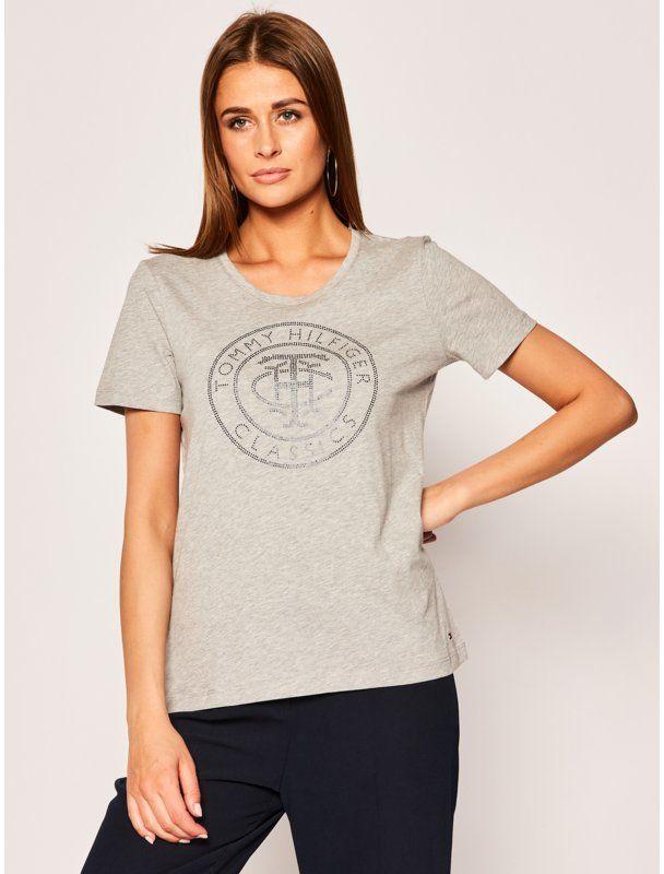 Tommy Hilfiger T-Shirt Tiara WW0WW27137 Szary Regular Fit