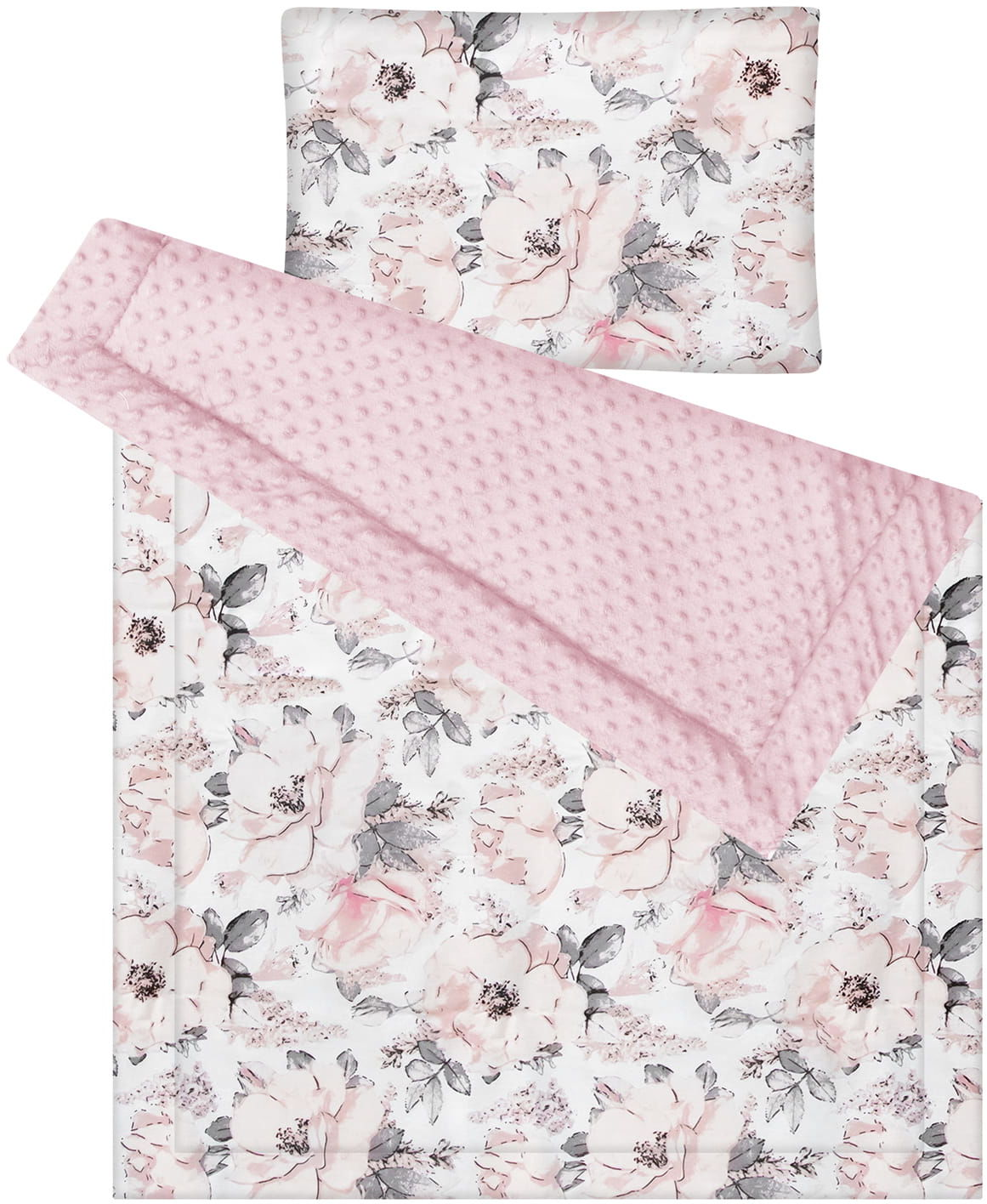 Kocyk i poduszka flowers różowe minky 75x100 cm