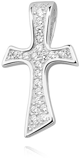 Krzyżyk srebrny z cyrkoniami, pr.925.