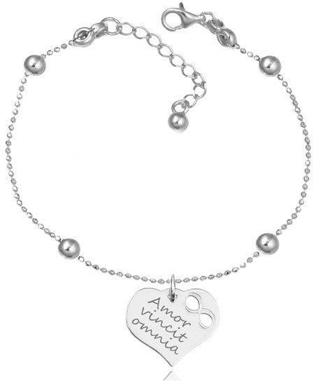 MAK-Biżuteria 1145 bransoletka grawerowana srebrna 925 dla mamy kuleczki serce