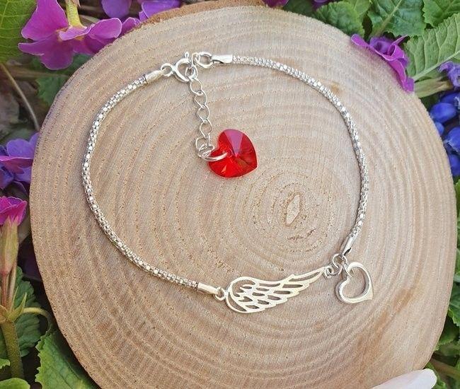 Swarovski MAK-Biżuteria 1159 bransoletka srebrna 925 skrzydło anioła serduszko Elements