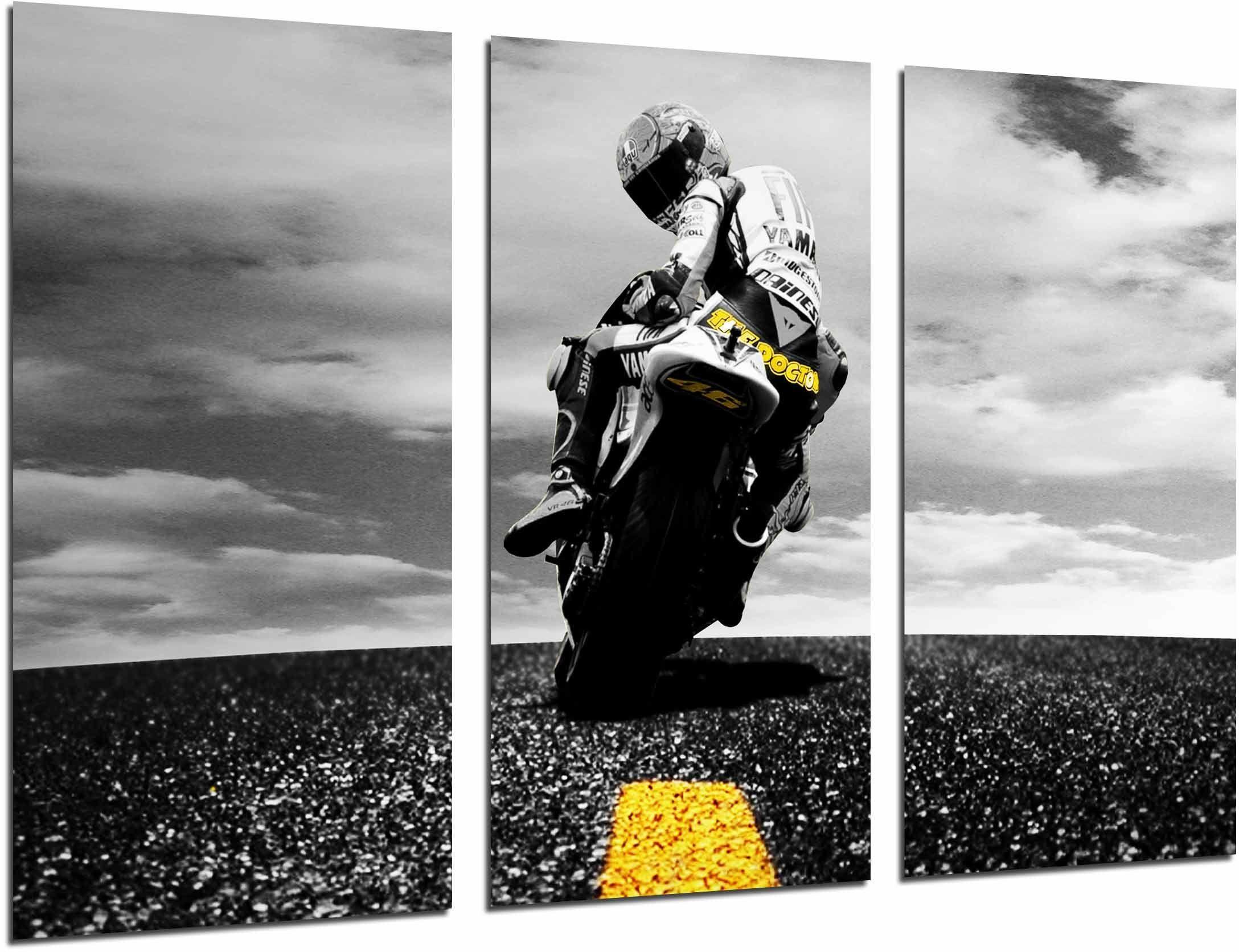 Obraz ścienny - rower wyścigowy, Biker, żółty, 97 x 62 cm, druk drewna - format XXL - druk artystyczny, ref.26671