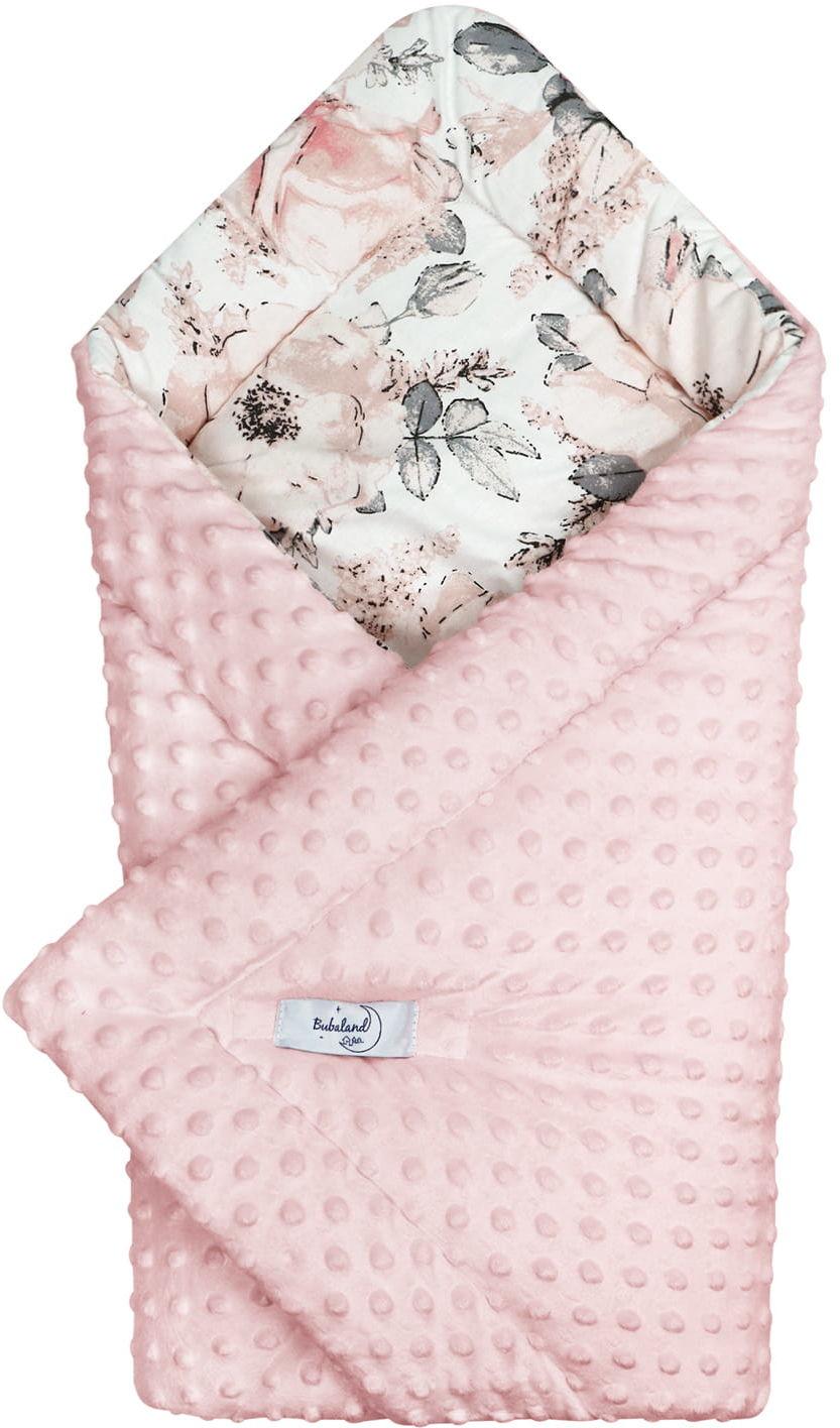 Rożek niemowlęcy różowe minky flowers