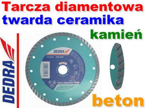 Tarcza diamentowa turbo do cięcia betonu, kamienia, twardej ceramiki 230/22,2mm DEDRA H1104