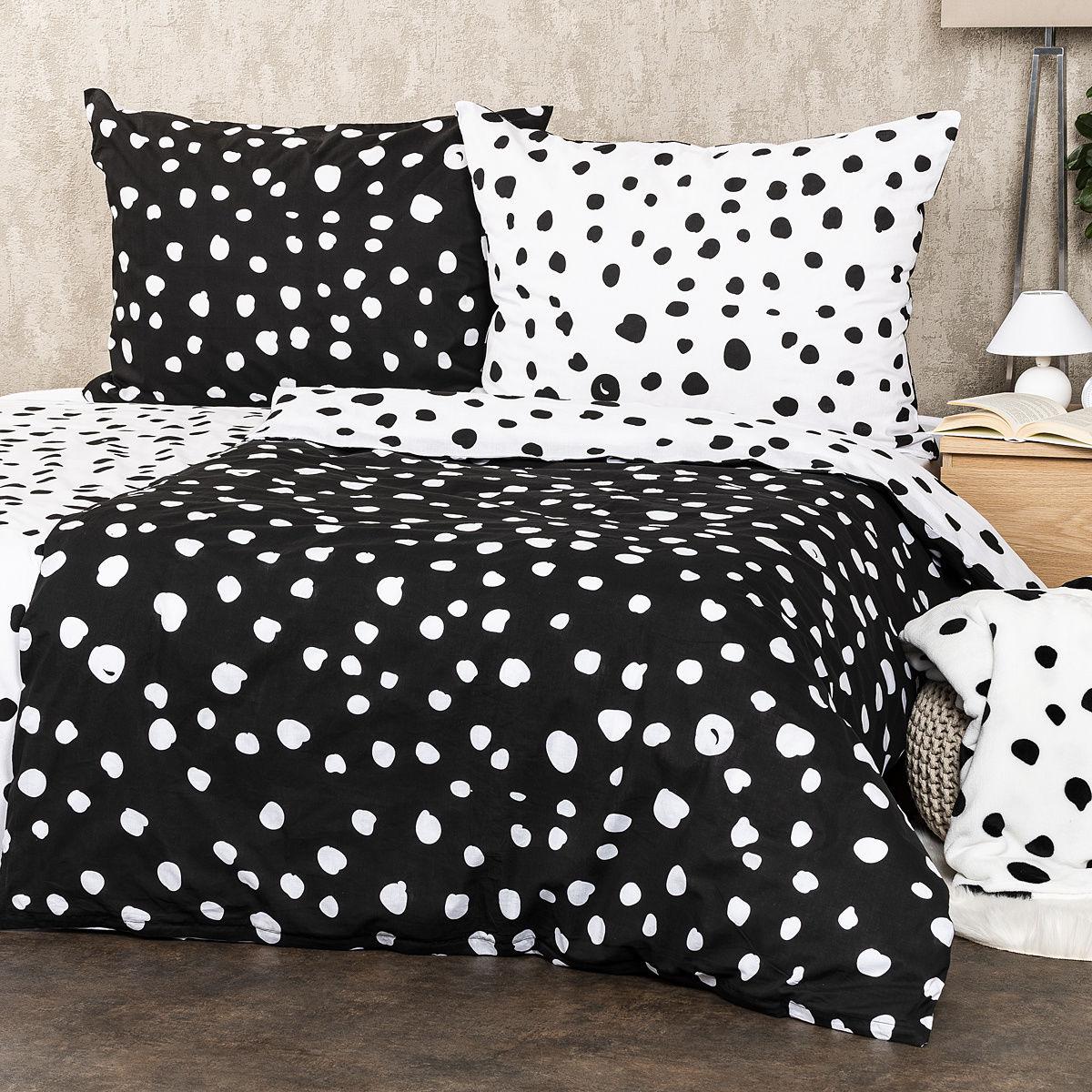 4Home Pościel bawełniana Dalmatyńczyk czarno-biały, 140 x 200 cm, 70 x 90 cm