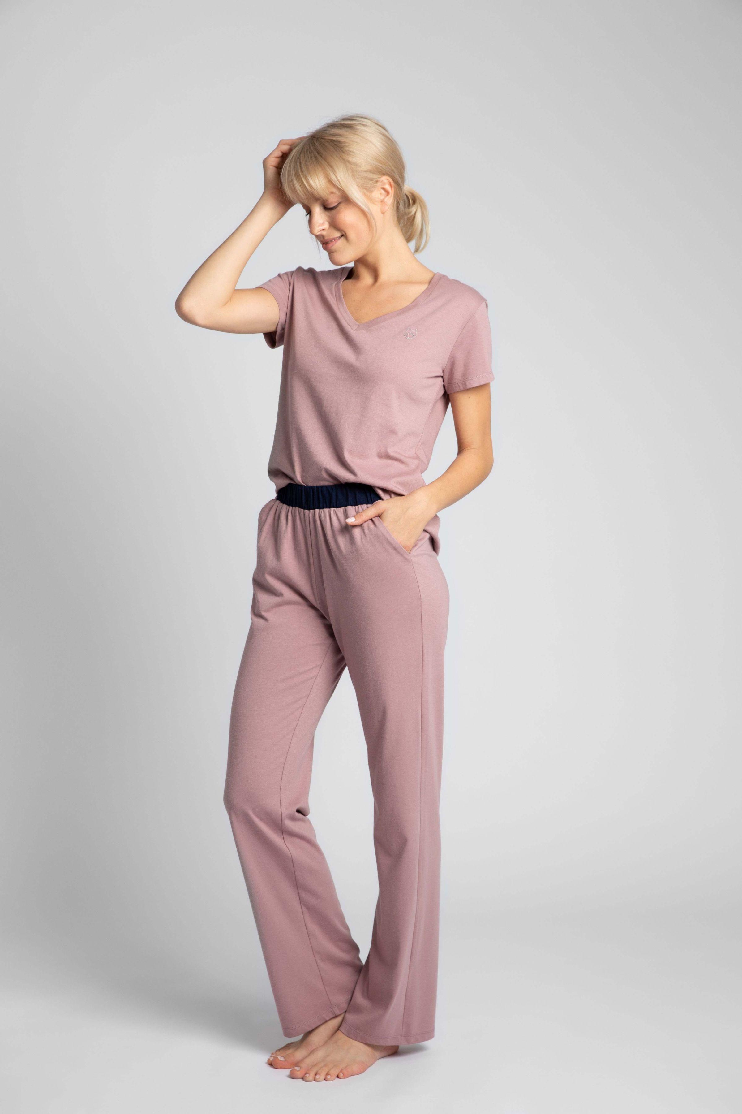 Długie bawełniane spodnie do spania - wrzosowe