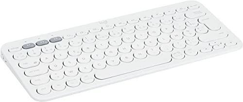Logitech K380 bezprzewodowa klawiatura Bluetooth, Multi-Device & Easy-Switch, skróty Windows i Apple, PC/Mac/tablet/telefony komórkowe/Apple iOS+TV, francuski układ AZERTY biały