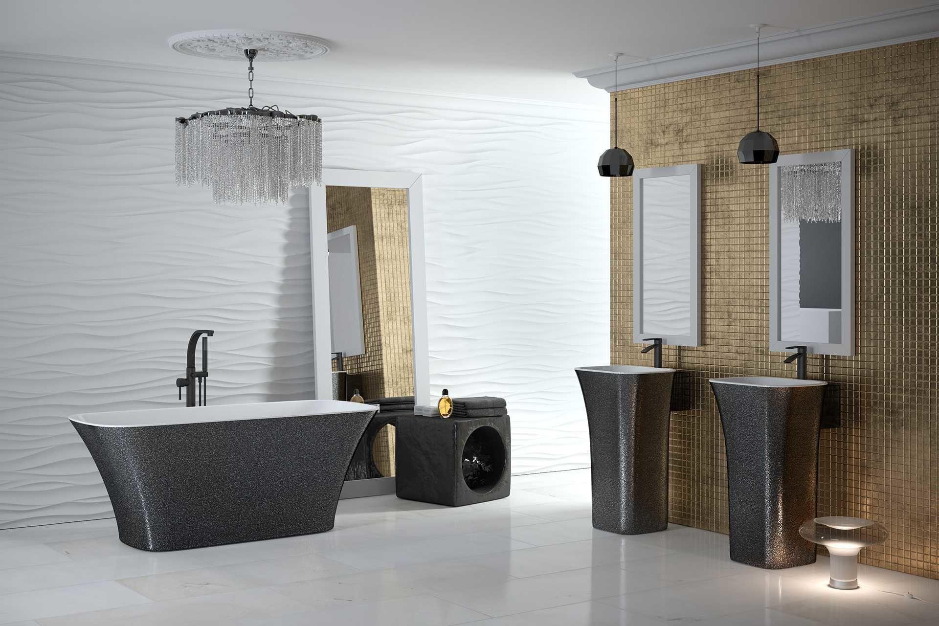 Besco umywalka wolnostojąca Assos Glam Srebrna 40x50x85 cm biało-srebrna