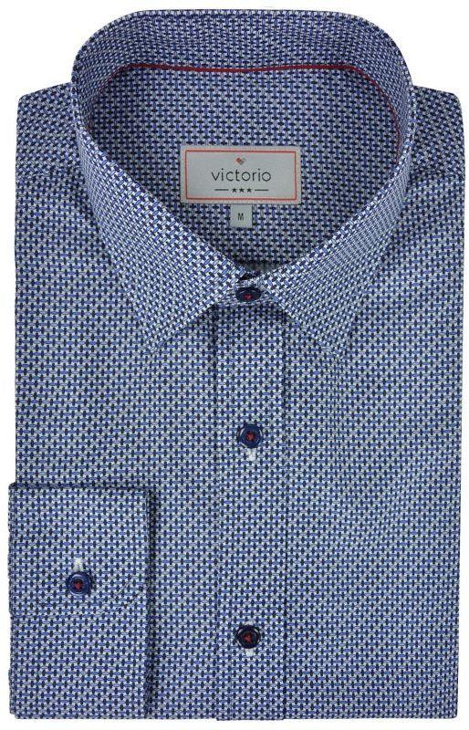 Granatowa Bawełniana Koszula z Długim Rękawem -VICTORIO- Wzór Geometryczny KSDWVCTO0416