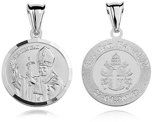 Srebrny medalik Święty Jan Paweł 2, pr.925.