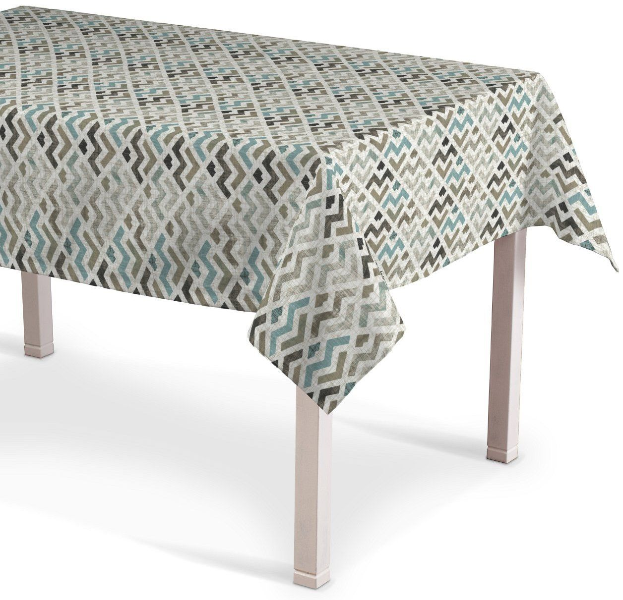 Obrus prostokątny, wzór geometryczny w odcieniach pastelowego błękitu i beżu na jasnym tle , 130  160 cm, Modern