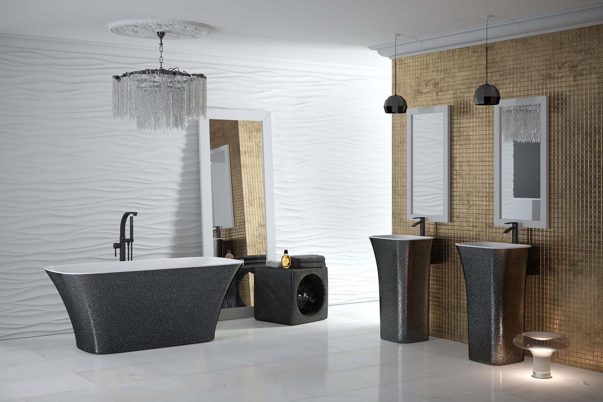 Besco umywalka wolnostojąca Assos Glam Grafit 40x50x85 cm biało-grafitowa