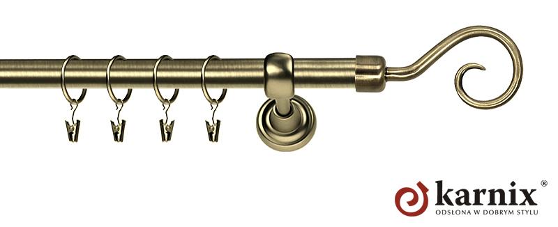Karnisze Metalowe Rzymskie pojedynczy 25mm Spirala antyk mosiądz