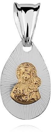 Srebrny medalik z Matką Boską Częstochowską, pozłacany