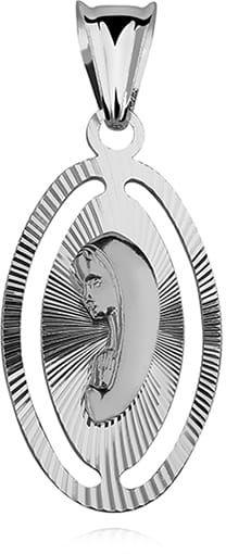 Srebrny medalik z Matką Bożą