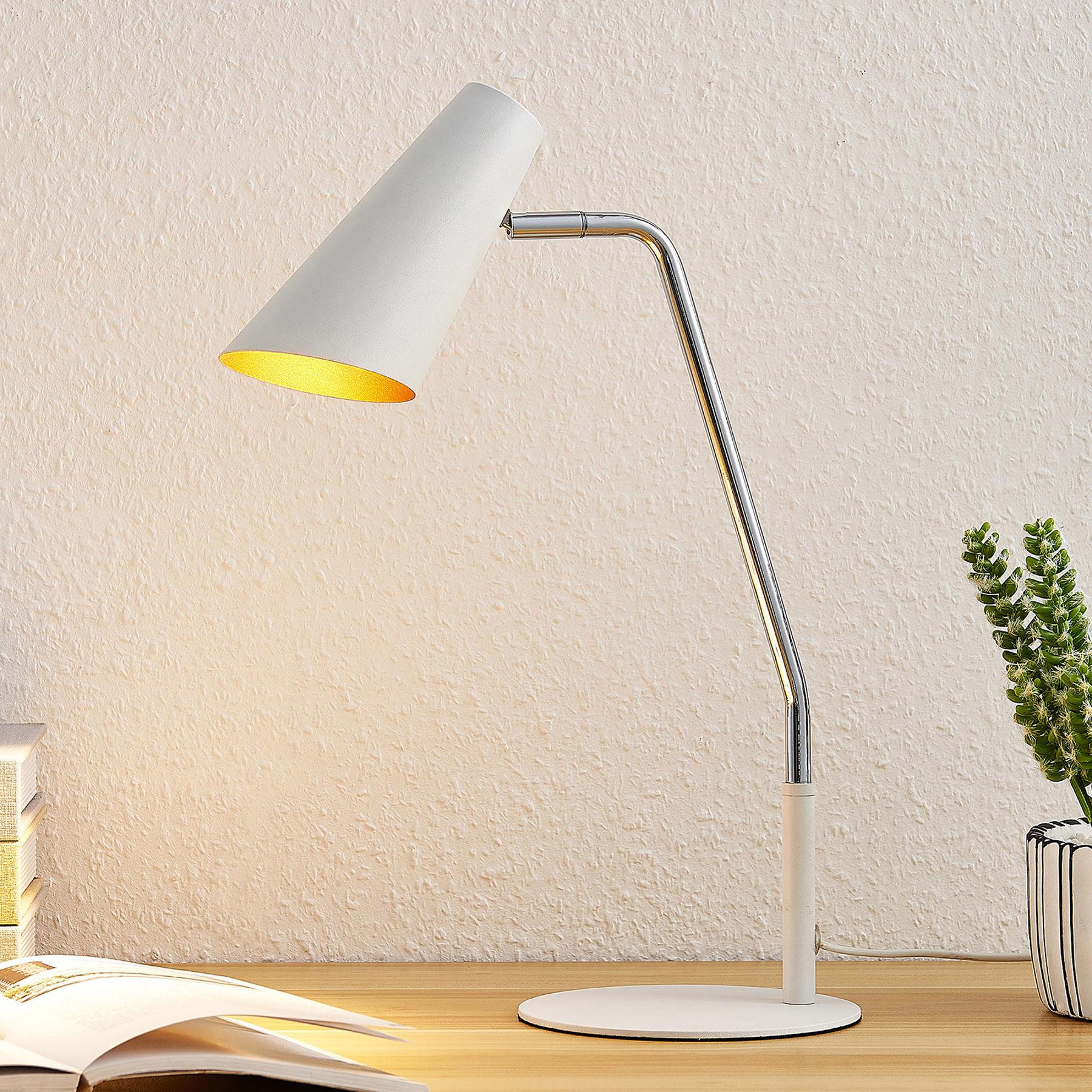 Lucande Wibke lampa stołowa w kolorze białym