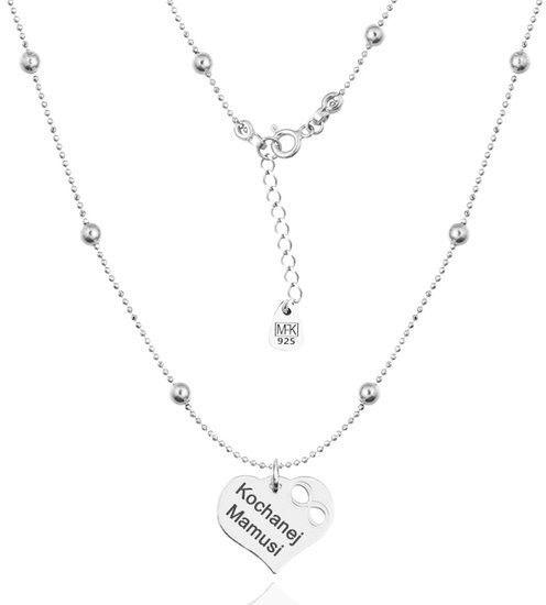 MAK-Biżuteria 1145 naszyjnik grawerowany srebrny 925 dla mamy kuleczki serce
