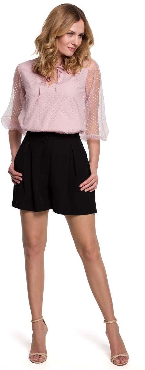prześwitująca bluzka w groszki z bufiastym rękawem - różowa