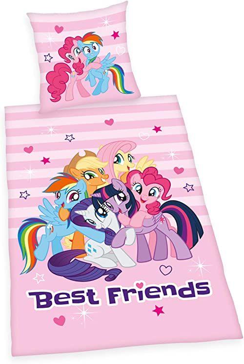 """Pościel My little Pony """"Best Friends"""", poszewka na poduszkę 80 x 80 cm, poszwa na kołdrę 135 x 200 cm, Renforce, z markowym zamkiem błyskawicznym"""