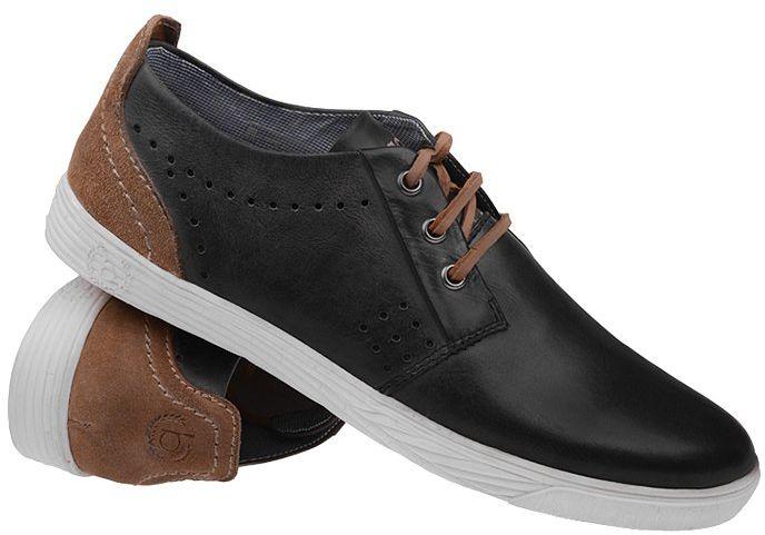 Półbuty BUGATTI Derby F5005-1 100-Schwarz Czarne Sneakersy