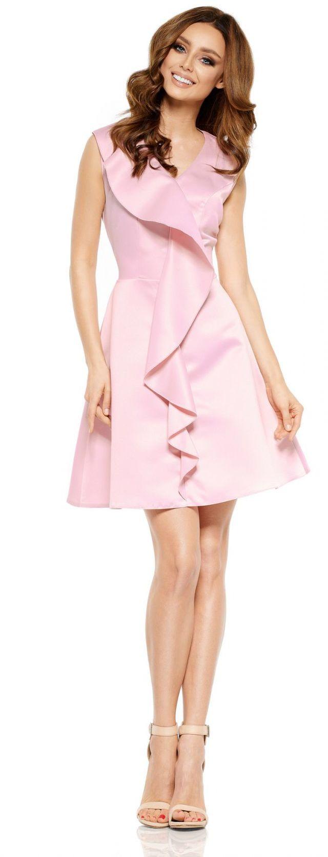 Oszałamiająca sukienka z falbaną L259 pudrowy róż