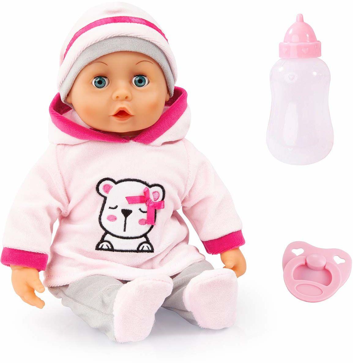 Bayer Design 93824BR funkcjonalne lalki pierwsze słowa ze śpiącymi oczami, 24 dźwięki niemowlęcia, 38 cm, miękkie z akcesoriami, różowy, szary