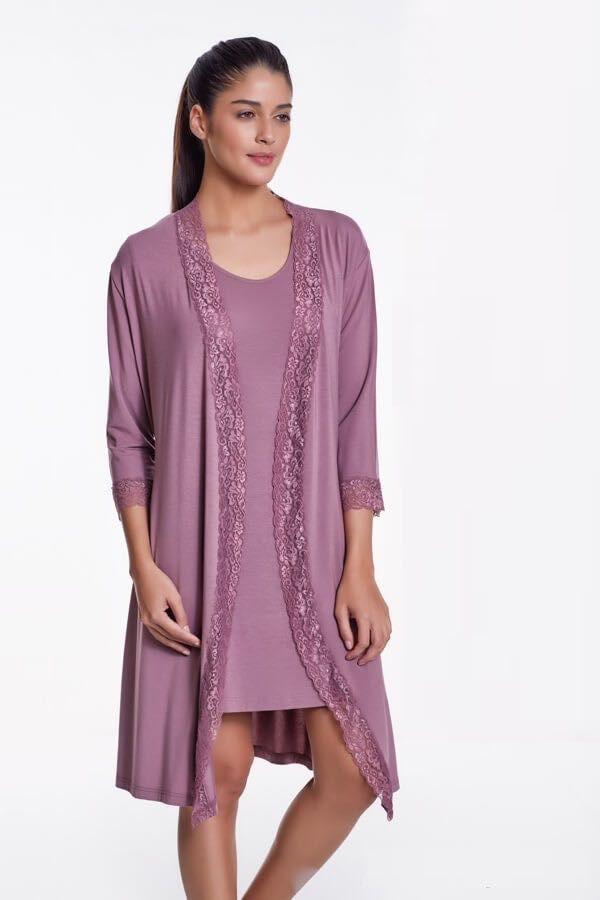 Koszula nocna damska TAMARA ze szlafrokiem Jagodowy
