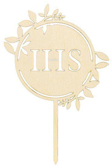 Topper na tort IHS drewniany 23cm 1szt KPT56-100