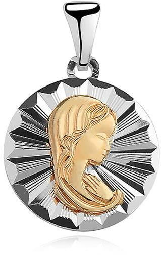 Srebrny medalik Matka Boska Madonna - pozłacany
