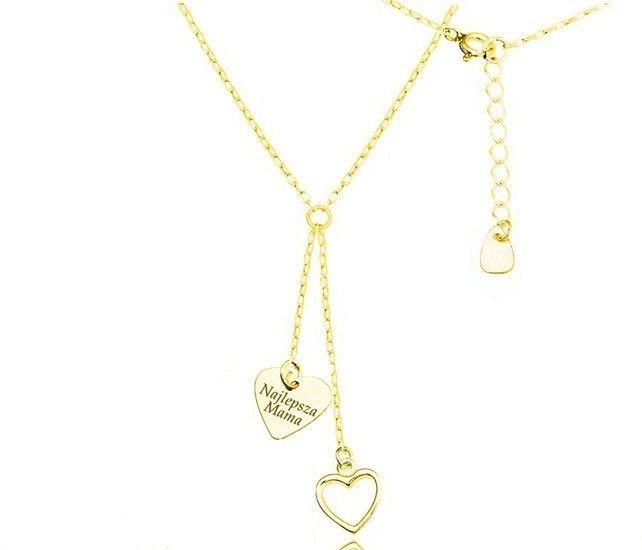 MAK-Biżuteria 1158 naszyjnik z grawerem krawat, srebro 925 pozłacane serca
