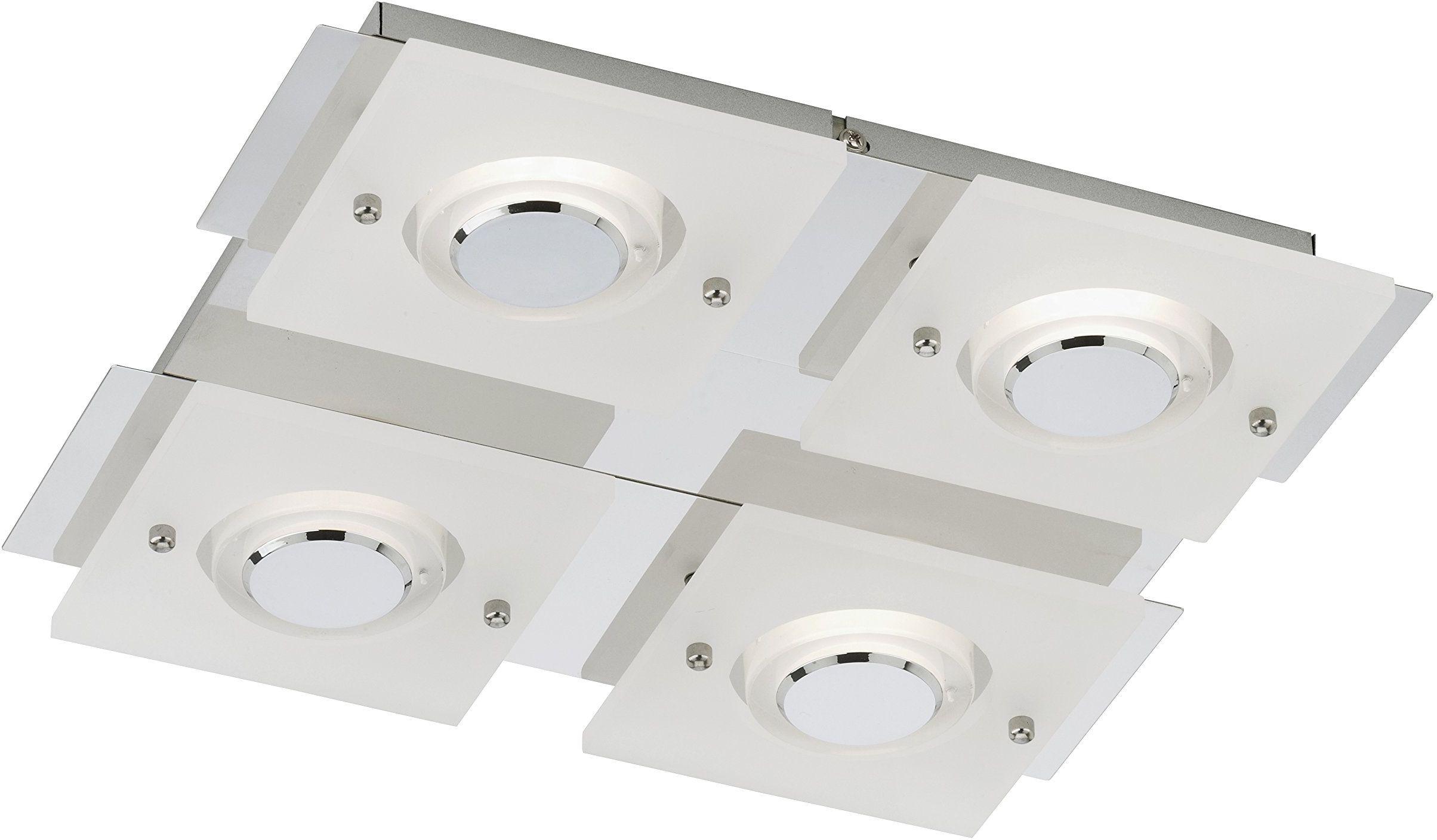 Briloner Leuchten Lampa ścienna LED, lampa sufitowa, lampa ścienna, 4 x moduł LED, 5 W, 400 lumenów, chrom