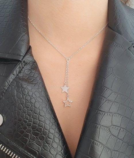 MAK-Biżuteria 1160 naszyjnik z grawerem krawat, srebro 925 gwiazdki