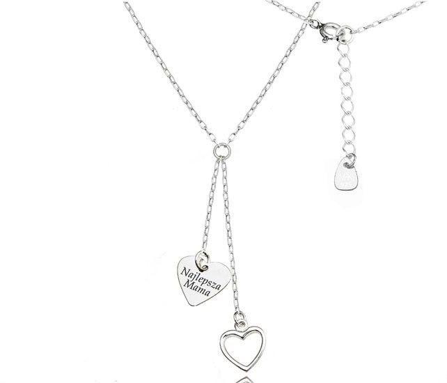 MAK-Biżuteria 1158 naszyjnik z grawerem krawat, srebro 925 serca
