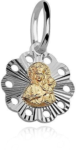 Srebrny medalik Matka Boska Częstochowska, złocona