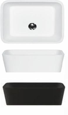 Besco umywalka nablatowa Assos Black&White 40x50x15 cm biało-czarna