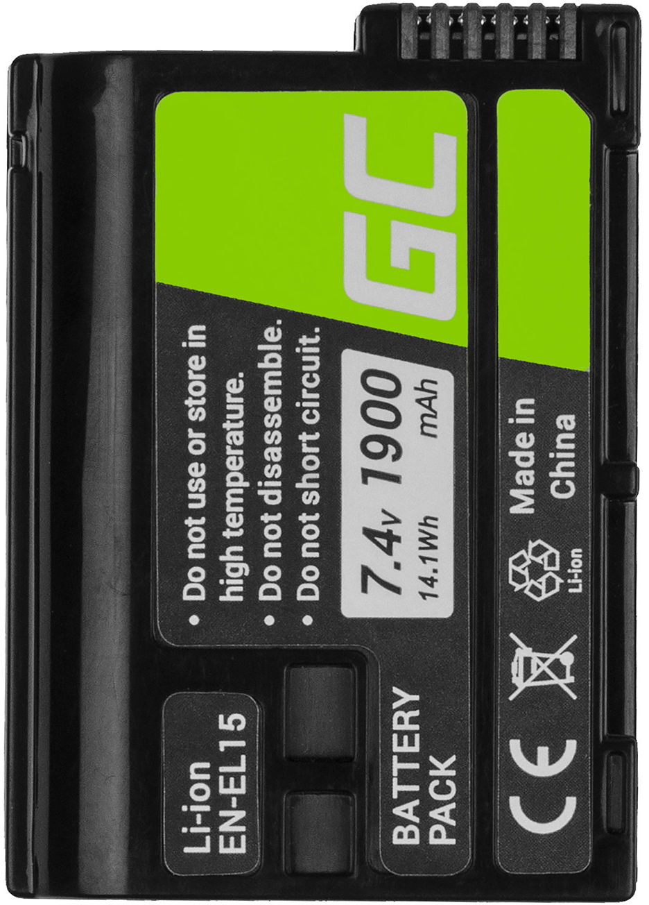 Akumulator Bateria Green Cell  EN-EL15 EN-EL15A ENEL15 do Nikon D600 D750 D800 D810 D810A D7000 D7100 D7200 D7500 7.4V 1900mAh