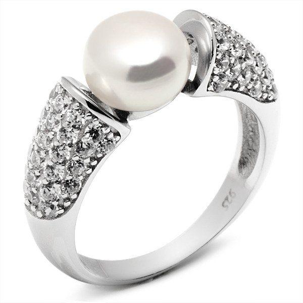 Pierścionek Srebrny z Białą Perłą i Cyrkoniami