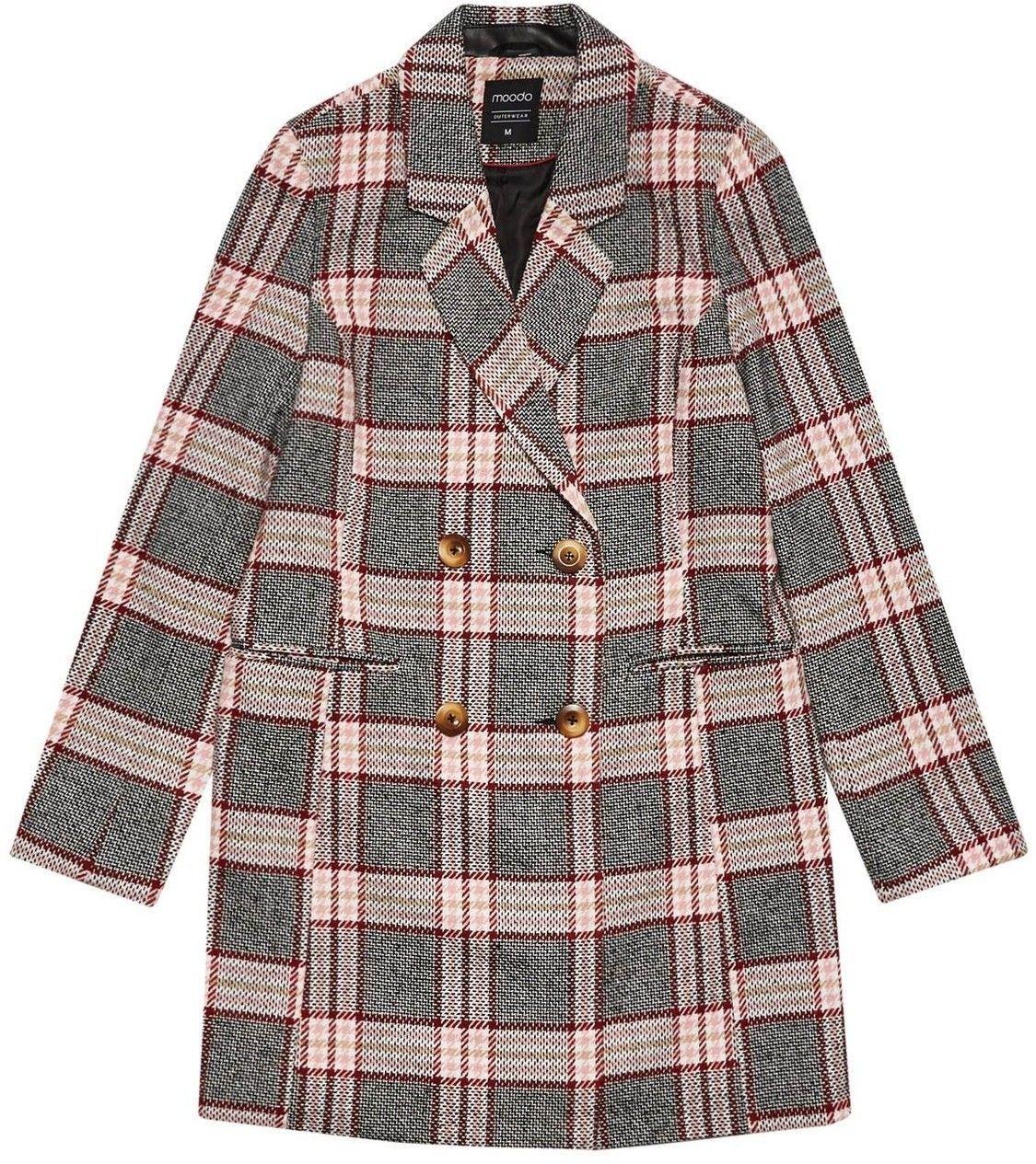 Moodo Dwurzędowy płaszcz w kratę Z-KU-3304 PINK; XS