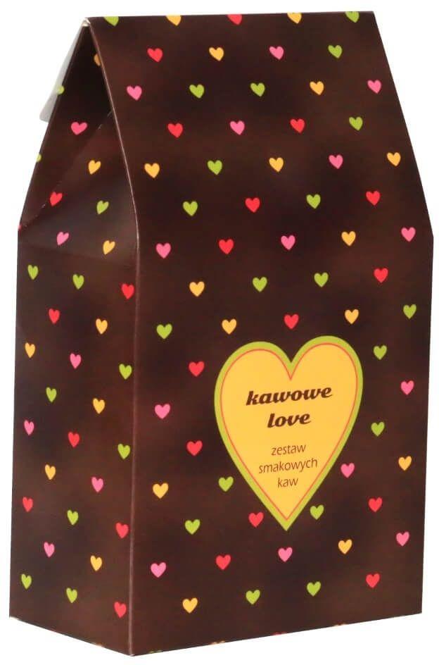 Kawowe love  prezent upominek dla zakochanych z kawą aromatyzowana smakową 10*10g